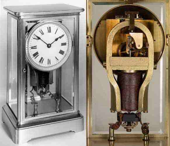 "Antique Electric Clocks Clock made by O'Keenan in Paris, around 1905. It has a distinctive small motor known under the ""OK"" name and widely used in gas meters. It turns permanently, winding a buffer spring, which in turn gears a conventional movement. The escapement maintains the motor at a speed such that it never needs to stop."