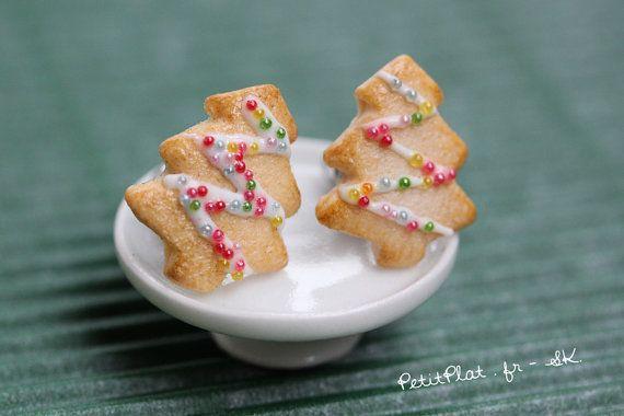 Boucles d'Oreilles Biscuit de Noël Sapin Bijoux par PetitPlat