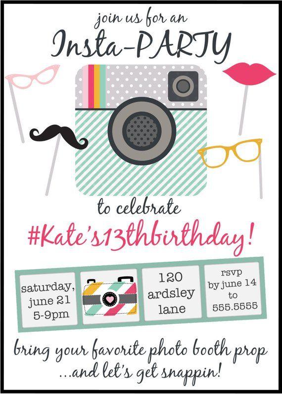 Instagram Inspired Birthday Party Invitation Digital File In 2019