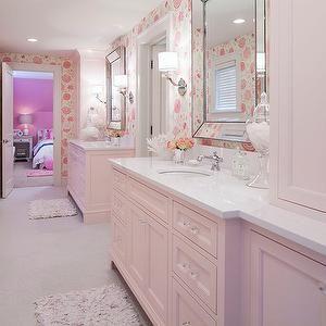 Martha O'Hara Interiors - bathrooms - jack and jill bathroom, pink bathroom,