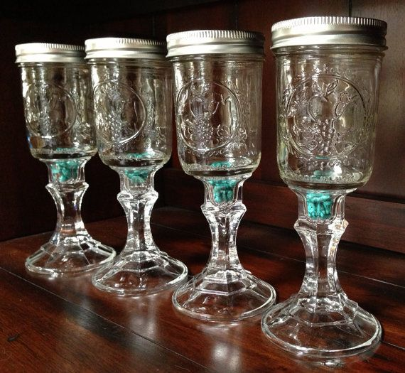 Four Mason Jar Wine Glass with Organic Turquoise by SevenTrees, $32.00
