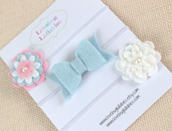 Felt Flower Bow Headband or Hair Clips Set of by LovebugLullabies