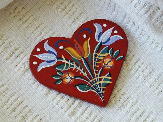 Tulip Garden - Series 01 - red, handpainted wood laminate heart inspired by traditional, historic Transylvanian style
