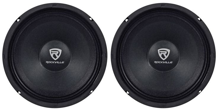 "(2) Rockville RM88PRO 8"" 8 Ohm 600 Watt SPL Midrange Mid-Bass Car Speakers. 8"" Open Basket Midrange Speaker. Power Rating: 300 Watts Peak /150 Watts RMS, CEA Compliant Power Ratings. Kevlar Reinforced Black Pulp Cone, Treated Cloth. Accordion Suspension. Linear Progressive Conex Spider, Kevlar Reinforced Pulp Paper Dustcap. High Tensile Expanded Steel Basket. Oversize 1.5"" High Temperature CCAR Voice Coil. 100oz. Magnet Structure Weight. Impedance: 8-Ohm. Mounting Depth: 3.46"", Frequency..."