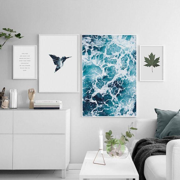 Nordic Домой Декоративной Живописи Море И Птица Холст Картины-mail Настенные Панно Для Спальни Гостиной Плакаты и Печать