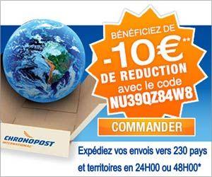 Chronopost : 3 euros de réduction sur le premier envoi de colis et 10 euros à l'international...