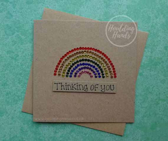 Unique handmade Thinking of you card: Rainbow bridge pet sympathy card.  This handmade rainbow card with gems would be suitable for the loss of a rainbow baby or for the loss of a pet who has crossed the rainbow bridge. This rainbow gems card has a rainbow created with gems in all the colours of the rainbows above the message: Thinking of you, which is added with 3D foam. FRONT OF THE CARD: You can choose the sentiment for your rainbow gems card from the drop-down menu. The messages…