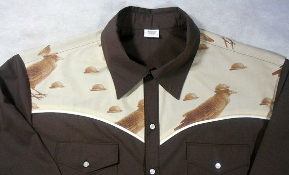 LIMITED EDITION - ONLY 1 available -- As unique as you are!  You will NOT see this shirt anywhere else as the fabric is custom ordered. This crow in a bowler hat fabric is not available from commercial or retail fabric sellers. Men's western shirt