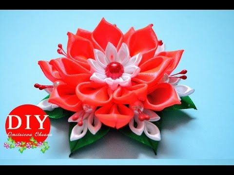 DIY. Flower kanzashi scrunchy. New petals. Kanzashi flower tutorial. - YouTube