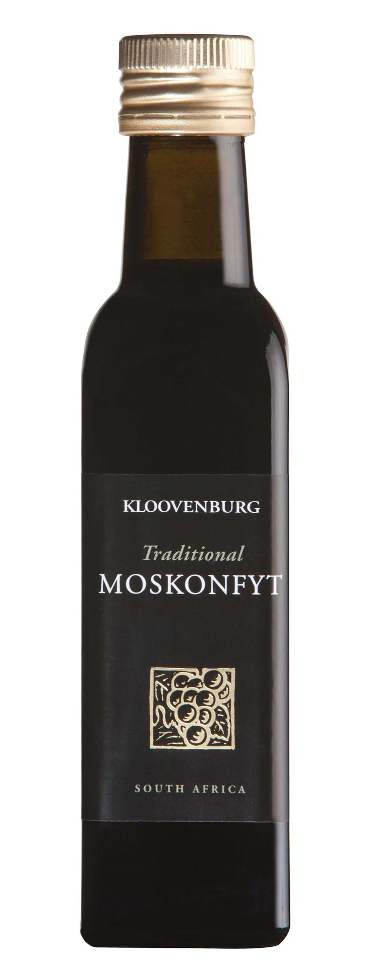 Moskonfyt is a very old and traditional South African delicacy.    The grapes are pressed and fermented, the result of this process is grapemust.    The grapemust is then reduced, a very long process which has no other additives. This is a secret Kloovenburg family recipe.  Moskonfyt was traditionally eaten on fresh homemade bread with a knife and fork as it soaks into the bread.