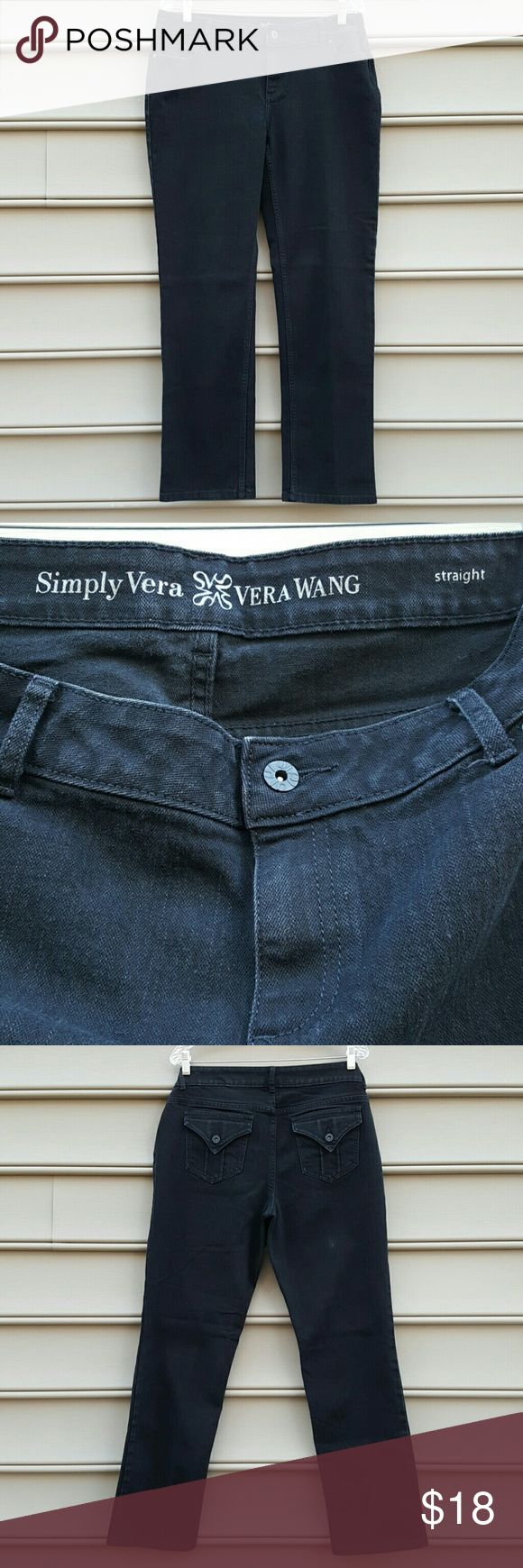 SIMPLY VERA WANG BLACK STRAIGHT CUT JEANS SIMPLY VERA WANG BLACK STRAIGHT CUT JEANS SIZE 12 Simply Vera Vera Wang Jeans Straight Leg
