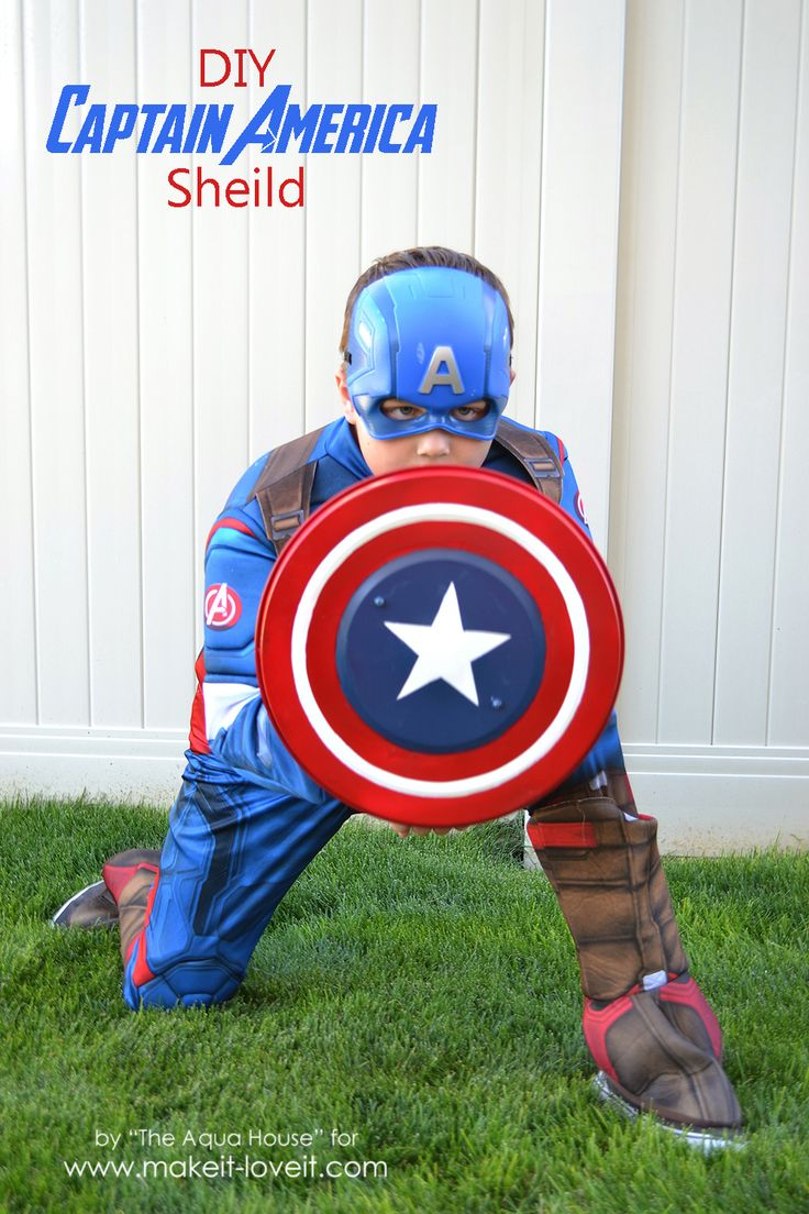 Make a DIY Captain America Shield from an IKEA garbage can lid. Quick, easy, and sturdy enough for rough little boys to do some avenging with!