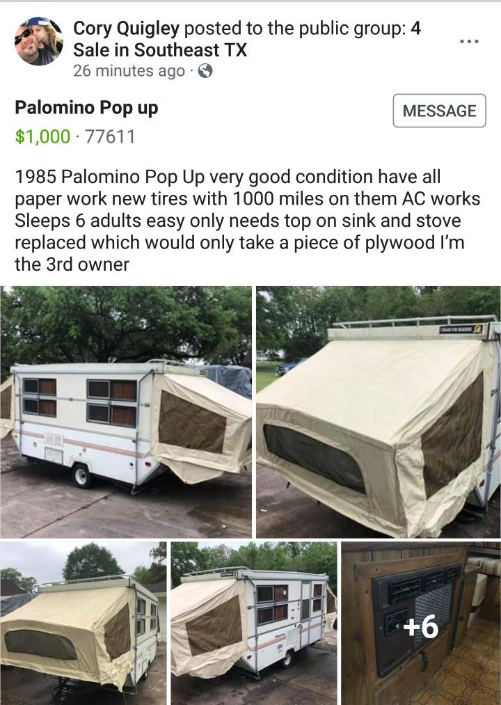 4/5/2019     1985 Palomino Pop Up Camper for $1,000 | Used