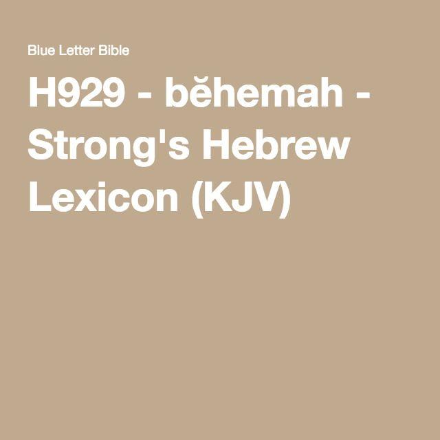 H929 - bĕhemah - Strong's Hebrew Lexicon (KJV)