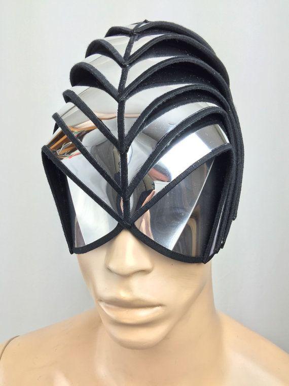 headpiece or Alien warrior mask ,helmet as for futuristic sci fi purposes steampunk fetish cyber headdress cybergoth or halloween gladiator warrior