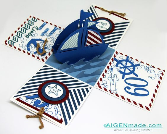 Überraschungsbox zum Geburtstag Thema Segeln & Meer :: Aigenmade StampinUP