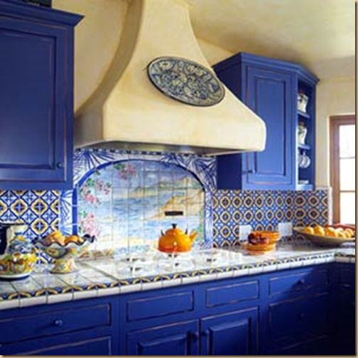 Kitchen Cabinets With Bright Blue Paint