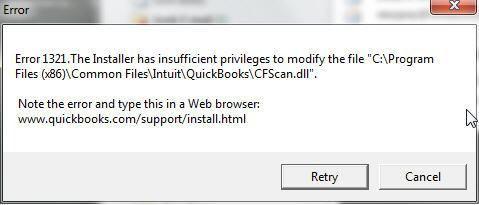 Quickbooks Error 1321 Quickbooks Privilege Coded Message