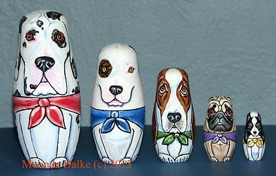 Russian Nesting Dolls - Mixed Dog Breeds 1 - By Melinda Dalke - 30% donation to Dogs without Borders