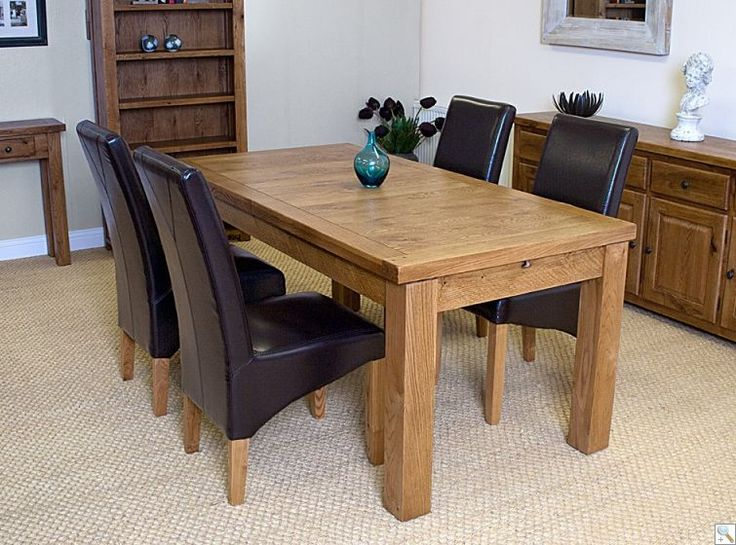 New Hampton Farmhouse 180cm Extending Oak Table With 4 Ohio Leather Chairs    Choice Of 3