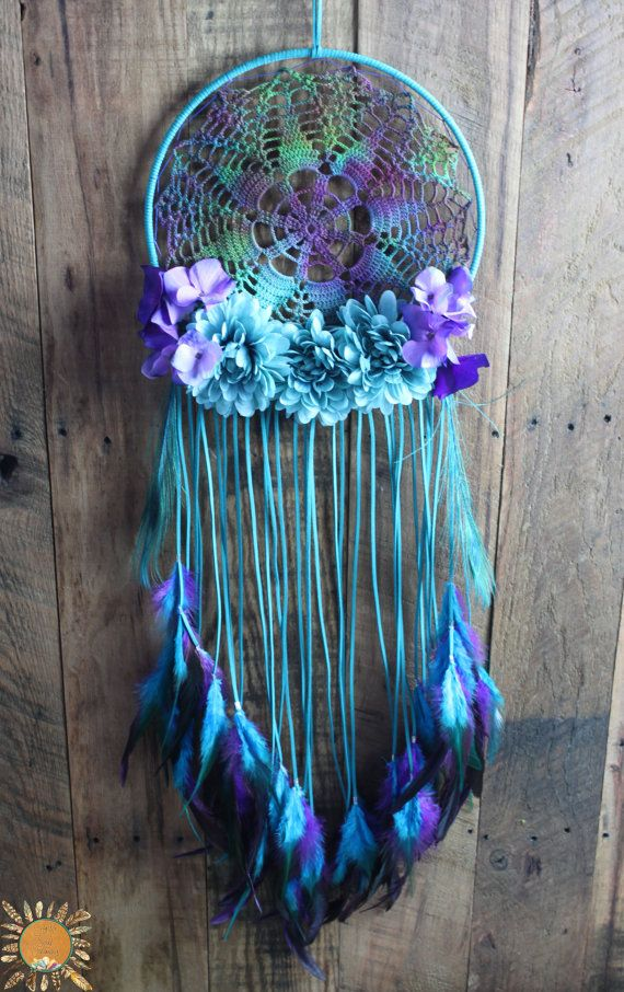 Large Teal, Turquoise, and Purple Dream Catcher with a Vintage Hand Dyed Doily, Flowers, and Peacock Feathers