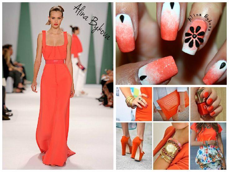 Красивые Ногти by Alina Bykova  #alinabykova #krasivienogti #nails #nail #fashion #style #cute #beauty #лето #море #солнце #тренд2015 #оранжевыйцвет #orange Сочным оранжевым мандарином отливают многие наряды дизайнерской одежды. Разбавить пастельную гамму и главенствующие синие оттенки призван оранжевый цвет, различные оттенки которого присутствуют в модной весенне-летней одежде. Для девушек сильных духом, дерзких и жизнерадостных дизайнеры решили приготовить сочные наряды апельсинового…