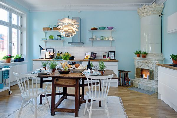 what a kitchen!: Scandinavian Kitchens, Kitchens Design, Blue Wall, Kitchens Plans, Kitchens Tables, Kitchens Ideas, Interiors Design, Blue Kitchens, Corner Fireplaces