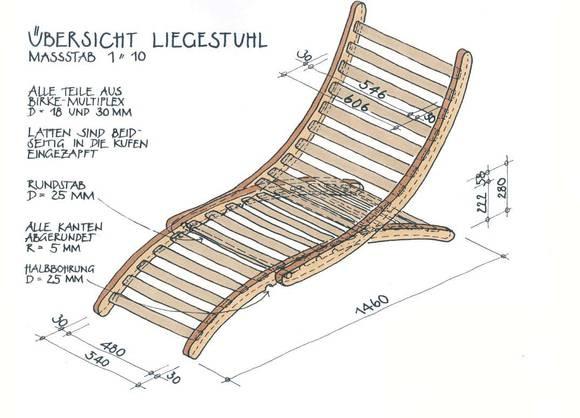 Hochwertiger Bauplan für einen Garten-Liegestuhl aus Holz.