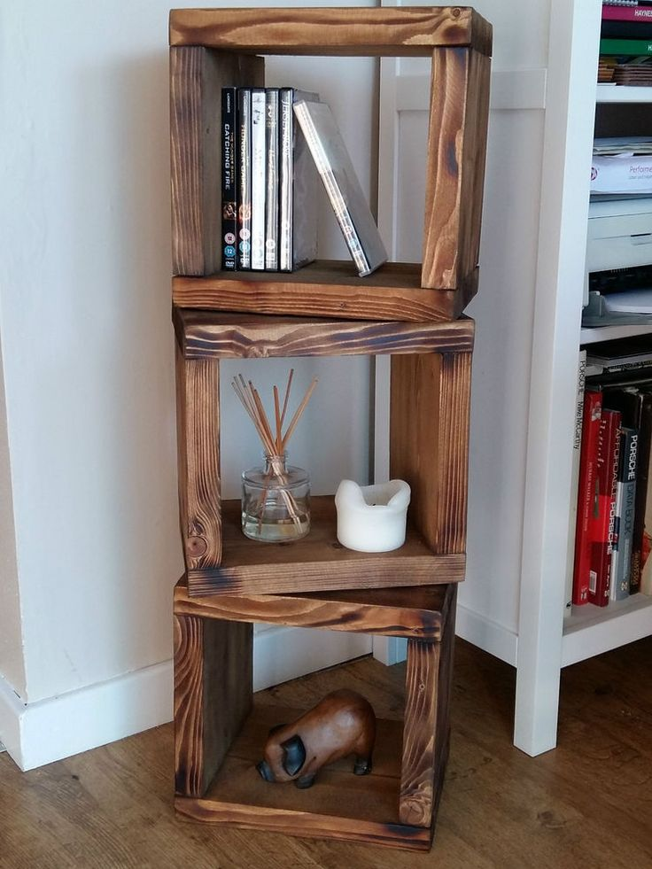 Great Chunky Solid Wood 3 CUBE Shelf Unit   Wall / Freestanding NEW Recycled  Reclaimed In Home