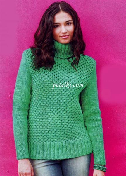 Вязание женского свитера большого размера