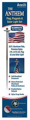 Annin Flagmakers 742371 Anthem U.S. Flag Pole Kit, 20-Ft. >  20', Anthem Flag Pole Set, 3' x 5' Premium Nylon Flag With Embroidered Stars & Sewn Stripes & Large Luna Solar Light, 20' Shiny Aluminum Flag Pole, Includes Gold Anodized Ball Ornament, Heav...