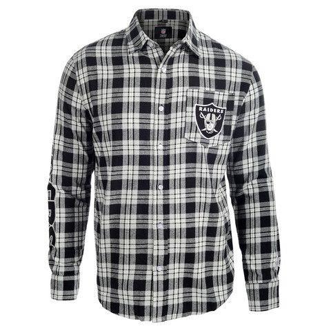 Oakland Raiders Wordmark Long Sleeve Flannel Shirt by Klew
