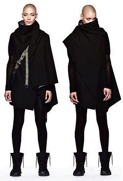 Cool outerwear. Avant garde. Black. Elegant goth,