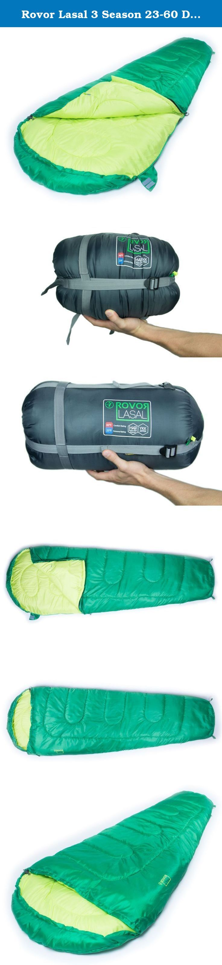 Rovor Lasal 3 Season 23-60 Degree Mummy Sleeping Bag. Indulge in ultimate comfort and warmth with the Rovor Lasal three-season Sleeping Bag. Ideal for Spring, Summer, and Fall camping, the H4 Hollow Fiber polyester fill will keep you comfortable and warm The Lasal measures 90 inches long, 32 inches wide at the shoulders, and 22 inches wide at the foot. When packed in the included stuff-sack the Lasal measures 15 inches long with an 8 inch diameter (uncompressed) and weighs 3 pounds Rovor...
