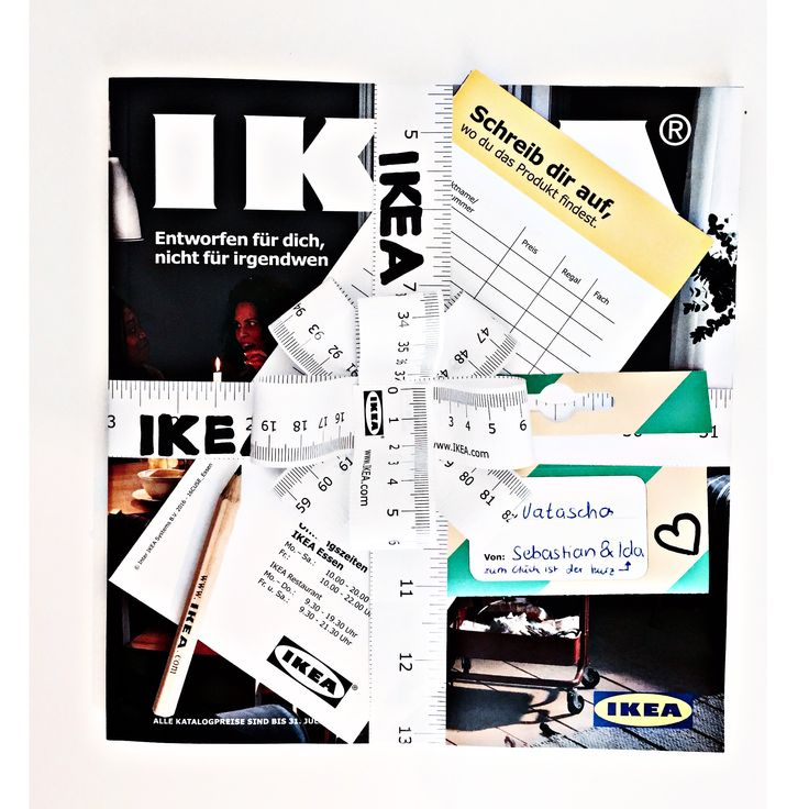 """Hallo Ich habe hier eine süße Idee für euch wie ihr einen Ikea Gutschein verschenken könnt Was ihr dazu braucht sind: ein Ikea Katalog ein Ikea Bleistift 3 Ikea Maßbänder """"Schreib dir auf w…"""