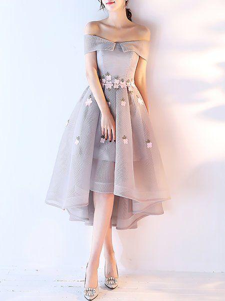 bff35a8d58bf Off Shoulder Midi Dress High Low Date Short Sleeve Asymmetric Dress ...