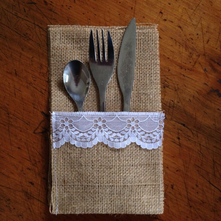 50 Hessian Lace Rustic Vintage Wedding Cutlery Holder Pouch Table Runner Country | eBay