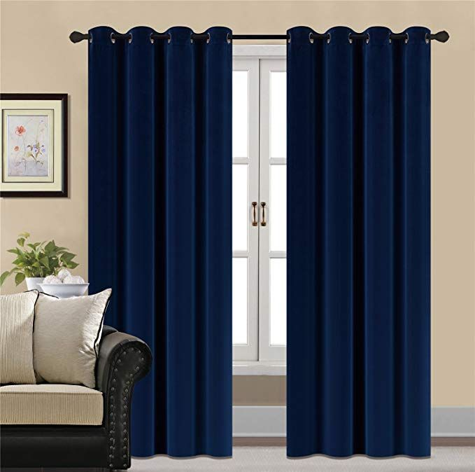 Hcily Blackout Velvet Curtains Navy 96 Inch Thermal Insulated For