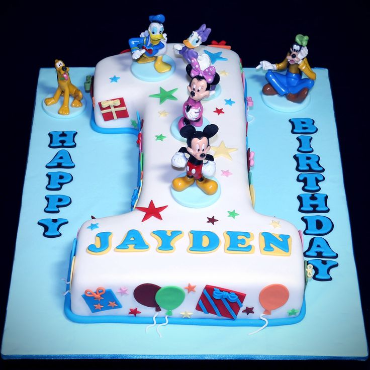 Number 1 Shaped First Birthday Celebration Cake