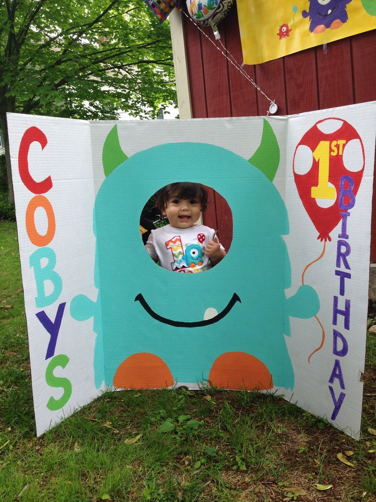 1st birthday decoration boy monster party face in hole cut out board sign