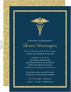 20 best medical school graduation invitations images on pinterest bold gold faux glitter medical school graduation invitation filmwisefo Image collections