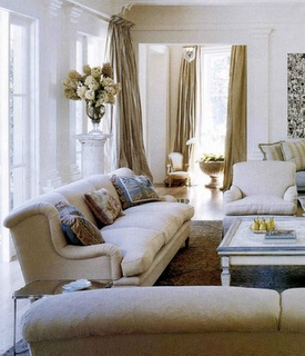 A beautifully edited family room. Simple, calm and monochromatic.