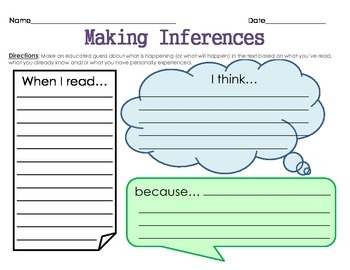 making inferences graphic organizer! 3rd grade
