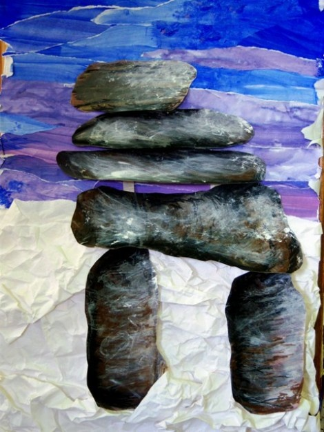 Into Nature, Books, and Art Weblog. An Inuit wilderness marker called an Inuksuk indicating good hunting, shelter, supplies. This is a wonderful mixed media art project using various paper materials and painting techniques.