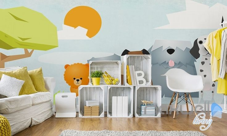Hand-painted children's cartoon pet dog fresh nature entire room wallpaper wall mural decal IDCQW-000068