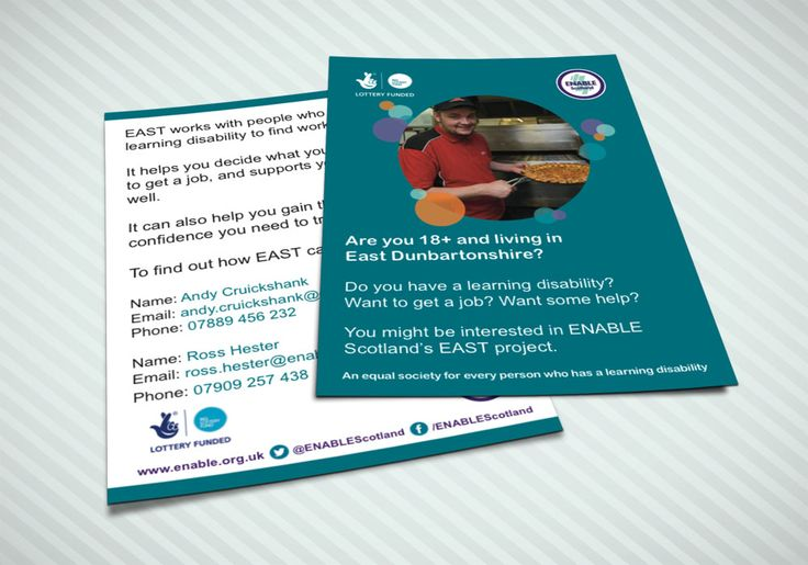 EAST POSTCARDS (BLUE VERSION) – Double sided postcard design for ENABLE Scotland's EAST Project for East Renfrewshire in Blue Version. #graphicdesign #postcards #stationery #employment #printouts #marketing