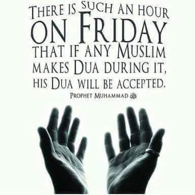 "It was narrated from Abu Hurairah that: The Messenger of Allah (ﷺ) said: ""On Friday, there is an hour when, if a Muslim slave asks Allah (SWT) for something at that time, He will give it to him."" Sunan an Nasai reference : Book 14, Hadith 68 English reference : Vol. 2, Book 14, Hadith 1432 Arabic reference : Book 14, Hadith 1442"