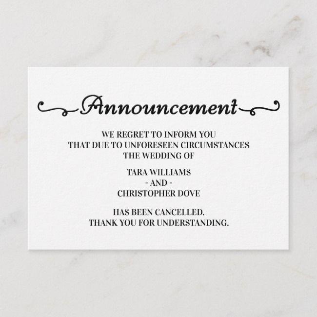 Wedding Announcement Cancellation Cards Zazzle Com Wedding Announcements Engagement Announcement Cards Engagement Announcement