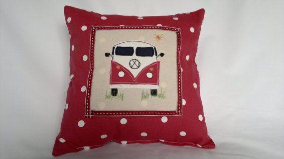 VW Camper Cushion. Red por ChalkhillBlueCrafts en Etsy