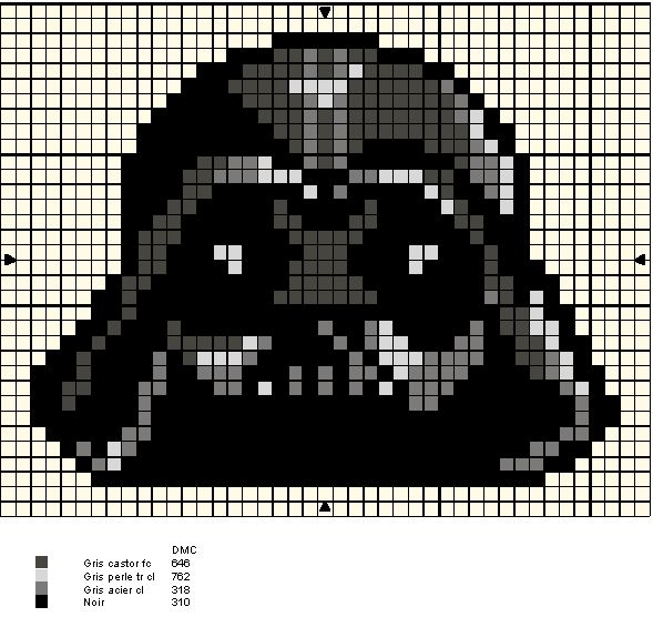 Star Wars Darth Vader perler bead pattern. Might make for hubby... Don't know if he'd be amused or not, but I like beading so...